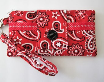 Red Bandana Wristlet Wallet Purse, Fabric Wristlet, Red Wristlet, Phone Wristlet, Wristlet Clutch, 4th of July purse, Summer Wristlet