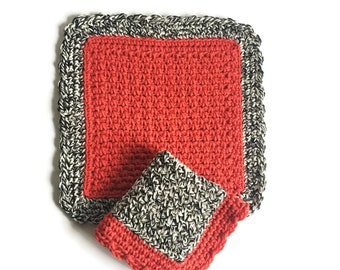 Crochet Dishcloth Set, Two Black and White and Red Dish Cloths, Cotton Washcloth, Handmade Wash Cloth