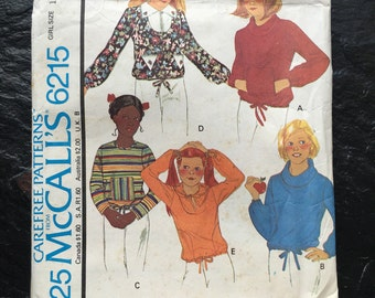 Vintage 1970s Girls' Set of Tops Pants Pattern // McCall's 6215, size 10 > for stretch knits only > hoodie, sweatshirt, cowl, pullover