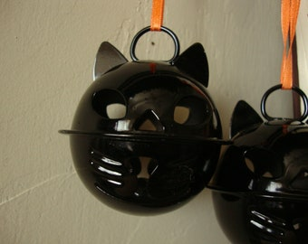 Black cats ornaments Halloween large bells embellishments kids crafts supplies bell ornaments party crafting