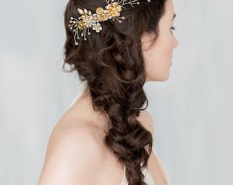 Gold Ivory Flower Bridal Hair Vine, Pearl Hair Vine, Floral Leaf Hair Comb, White Enamel Flower Headpiece, Twig Crystal Hair Vine, HERMOINE