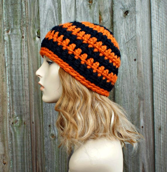 Black and Orange Beanie - Crochet Womens Hat Mens Hat - Warm Winter Hat Black Beanie Orange Beanie Halloween Hat - READY TO SHIP