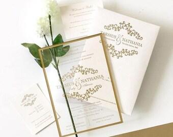 Sample Clear Acrylic Wedding Invitations Invites Pre Printed
