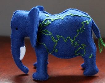 Atlas Elephant Plush - Felt Elephant with world map embroidery