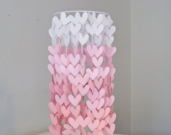 Heart Shaped Pink Ombre Paper Crib Mobile, Modern mobile, modern crib mobile, nursery mobile, teen room, dorm room, wedding decor
