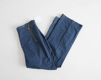 1970s cropped jeans | 70s jeans | wide leg jeans 32
