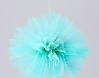 """12"""" Tulle flower ball Aqua"""