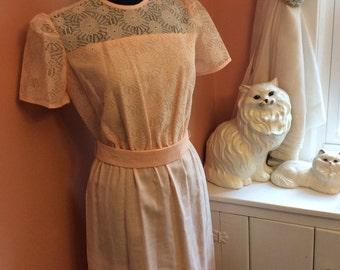 Vintage Dress, 80s Dress, Sunday Dress - Easter Dress, Peach Floral Lace (A899)