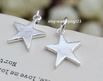 2 pcs sterling silver star charm pendant  , S1