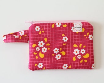 Small zipper pouch, Coin purse, Minimalist pocket wallet, Change purse, cash wallet, mini, earbud case, modern floral happy sunshine bag