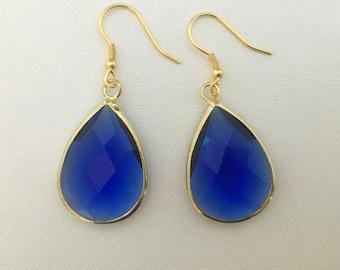 Carter Drop Earrings, Sapphire Blue Earrings, Teardrop Earrings,Blue Drop Earrings,Everyday Earrings Bridal Earrings, Wedding Jewelry, Gifts