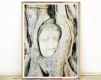 Buddha Print, Natural Tree Art, Buddha Face, Spiritual Wall Art, Religious, Large Printable Poster, Digital Download, #078