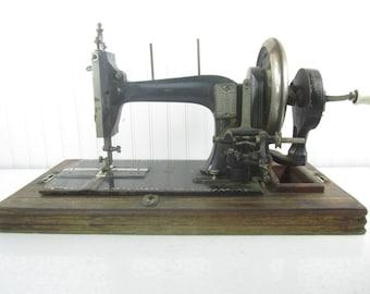 Vintage Sewing Machine, crank Sewing Machine,black, Victorian, antique decor, tailor,seamstress, ornate, brick Marke, porcilian handle,