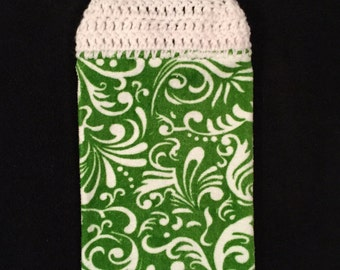 Crocheted Top Dish Towel - White on Green