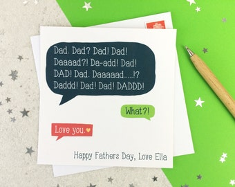 Funny Fathers Day Speech Bubble Card - personalised - card for dad - fathers day - funny card - uk
