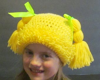Cabbage Patch Hat ~ Size Small ~ Bright yellow with bright green ribbon