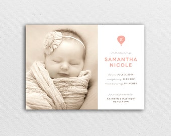 Baby Announcement - Hot Air Balloon Monogram - Birth Announcement