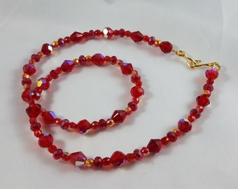 Austrian Crystal and Czech Crystal Necklace W/Vintage Beads
