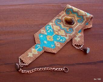 Bracelet en perles amérindiennes OOAK Peyote perles Bracelet manchette de l'instruction planète vivante, tissée en perles Bracelet, Pierre oeil de tigre