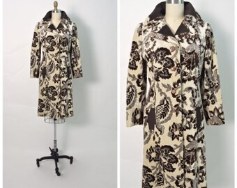 Vintage 1960s 60s Lilli Ann Coat Brown and White Floral Chenille