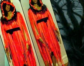 SAMPLESALE: HALLOWEEN HOSTESS Hanging Strip Dress - Oversize Flashing Lights Hood