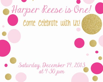 Sparkle and Shine Pink and Gold Birthday Invitation