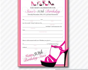 High Heel Shoe Mad Lib Birthday ( Printable, Card,  Invitation, Photo, Announcement )