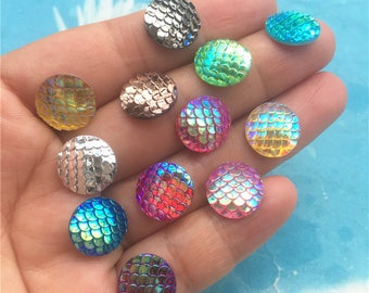 10pc 12mm assorted Colorful fish scale cabochon/cameo charms findings