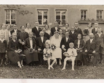 Family wedding portrait groom bride in love - picture shot Real Photo Postcard Photography Antique RPPC paper ephemera