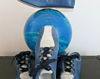Vintage Women's Endicott Johnson Bowling Shoes | Blue Marbled Leather and Creamy White Suede | Women's Leather Rockabilly Shoes