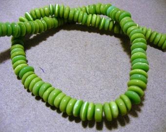 Cat's Eye Glass Beads Green Rondelles 7x3MM