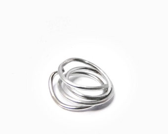 Sterling silver ring, Silver rope ring, Silver Wrap ring, Contemporary Sterling ring, Handmade artisan rings, Unique Layered rings, big ring