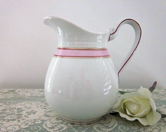 Vintage White Porcelain Pitcher with Pink Band, Gold and Burgundy Accent Trim - Cottage Chic  - Kitchen Decor - Kitchen Decor - Collectible