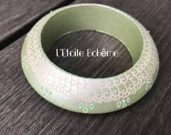 Bracelet Wood Green lime Mandala