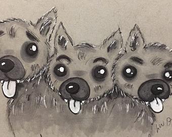 Cerberus the Puppy Drawlloween print 4x6
