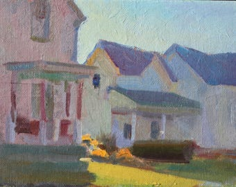 6x8 Impressionist Landscape houses at dusk in shadows Realist painting color Original Painting Realist Painting Impressionist Impressionist