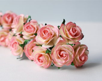 Paper Flower, 50 pieces mini rose, Size 2.5 cm., pink brush yellow color.