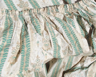 Pair large Vintage French Cotton Curtains 1920s Drapes Arabesque Green and Fabric