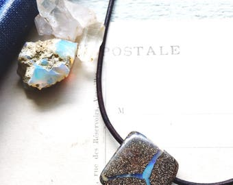 C o n s t e l l a t i o n..Boulder opal necklace, leather, boho, heart chakra, peace, October birthstone, choker necklace FREE SHIPPING