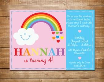 Printable Rainbow Birthday Invitations ~ Rainbow birthday invitation rainbow invite somewhere over