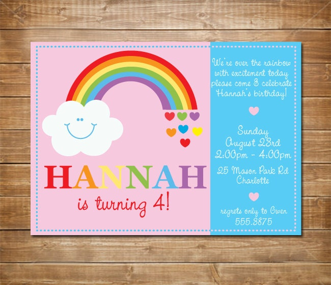 Rainbow Birthday Invitation Rainbow Invite Printable