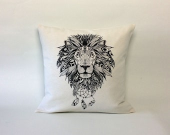 Boho Lion pillow cover - Boho pillow cover - Bohemian dreamcatcher - aztec -Lion  cushion cover  - 16x16 inch - boho decor - Lion decor