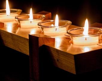 Exquisite Wooden Votive Candle Holder - Maple And African Sapele Wood Votive Candle Holder
