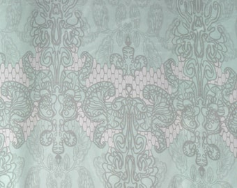 Mint Green and Gray Damask Silk - 100% Silk Fabric by the Yard or Meter