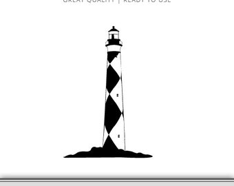 Lighthouse Silhouette - Lighthouse - Lighthouse Clip Art - Lighthouse DXF - Lighthouse SVG - Cape Lookout Instant Download - Ready to use!