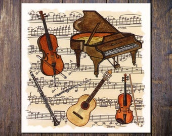 Classical Music Card, Square Blank Greetings Card for Birthday, Thank You, Notecard Piano Violin Guitar Cello Flute Clarinet