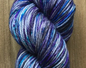 Hand Dyed Yarn, Worsted Weight 4ply, 100% Superwash MerinomWool, Galaxy on Hearty Worsted Yarn