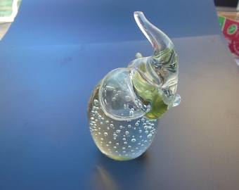 Elephant With Raised Trunk, In Glass, Statue, Figurine