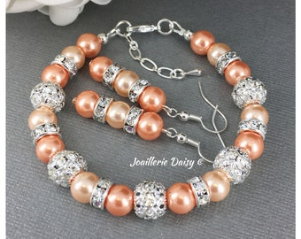 Bridesmaid Gift Peach Bracelet Bridesmaid Jewelry Maid of Honor Gift for Her Shades of Peach Wedding Bracelet Set