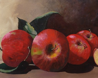 Fine Art Prints, canvas, paper, Giclee, red apple, horizontal, art print, art for dining room, fade resistant, gift for her, new